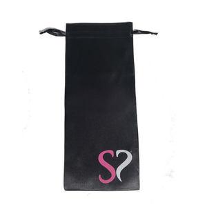 Large Black Satin Drawstring Bag