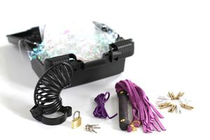 Cbt Kit - Metal Chastity Cage Intimate Flogger 10 Clothes Pins 5' Lacing Dvd Case Purple