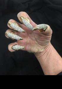Bling Nail Set Crystal 5Pc Cat Claws