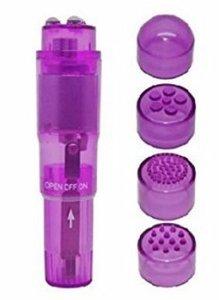 (Bulk) Cloud 9 Novelties Mini Massager Pocket Rocket Purple W/ 4 Attachments
